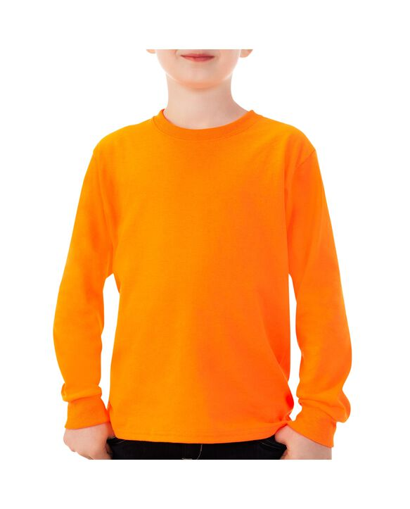 Boys'Long Sleeve T-Shirt, 1 Pack Safety Orange