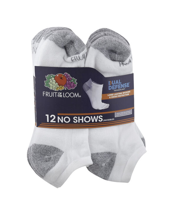 Men's Dual Defense No Show Socks, 12 Pack, Size 6-12 WHITE/GREY