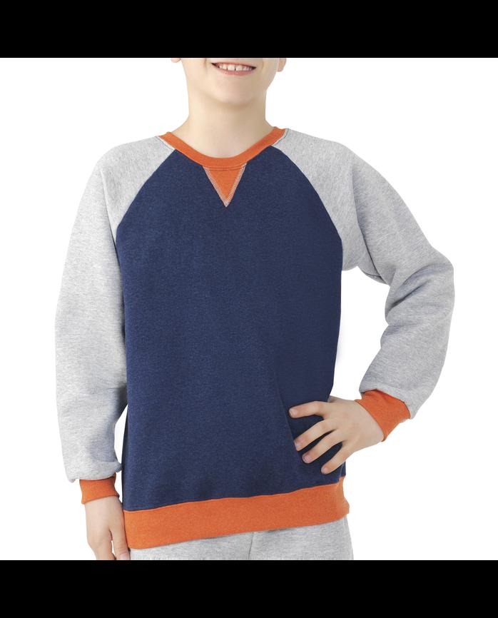 Boys Fleece Raglan Crewneck Sweatshirt Blue Heather
