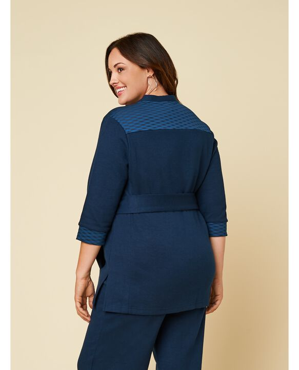 Women's Seek No Further Plus Size ¾ Sleeve Stretch Tie Jacket Navy Nights