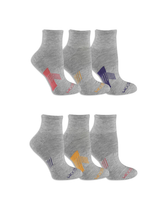 Women's Active Ankle Socks, 6 Pack, Size 4-10 GREY/PINK, GREY/PURPLE, GREY/ORANGE