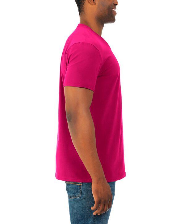 Men's Soft Short Sleeve V-Neck T-Shirt, 2 Pack, Extended Sizes Cyber Pink