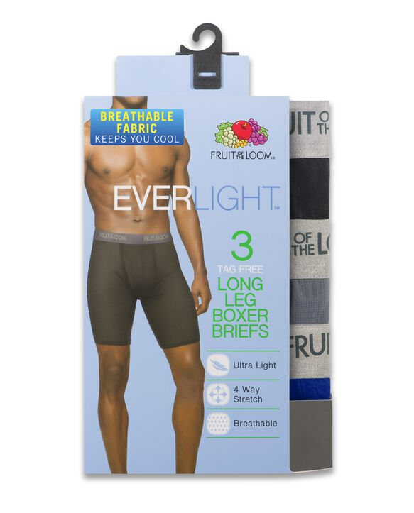 Men's EverLight Assorted Long Leg Boxer Briefs, 3 Pack ASSORTED