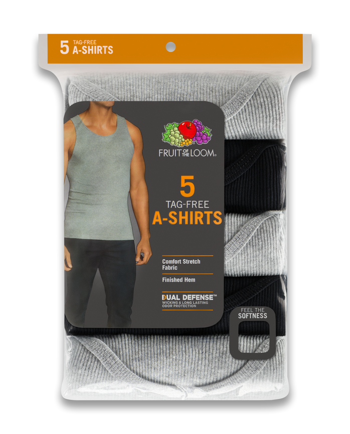 Men's Dual Defense® Black and Gray A-Shirts, 5 Pack ASSORTED