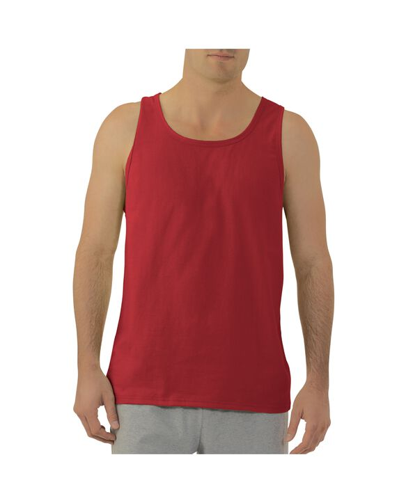Men's Dual Defense UPF Sleeveless Tank Top Fiery Red