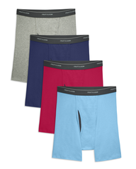 Men's CoolZone Fly Assorted Boxer Briefs, Extended Sizes, 4 Pack ASSORTED