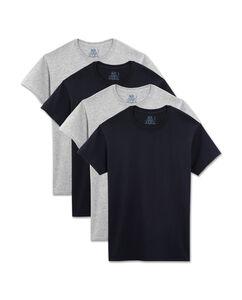 Men's 4 Pack Black/Gray Crew T-Shirt Extended Sizes