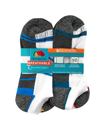 Men's Breathable No Show Socks, 8 Pack, Size 6-12