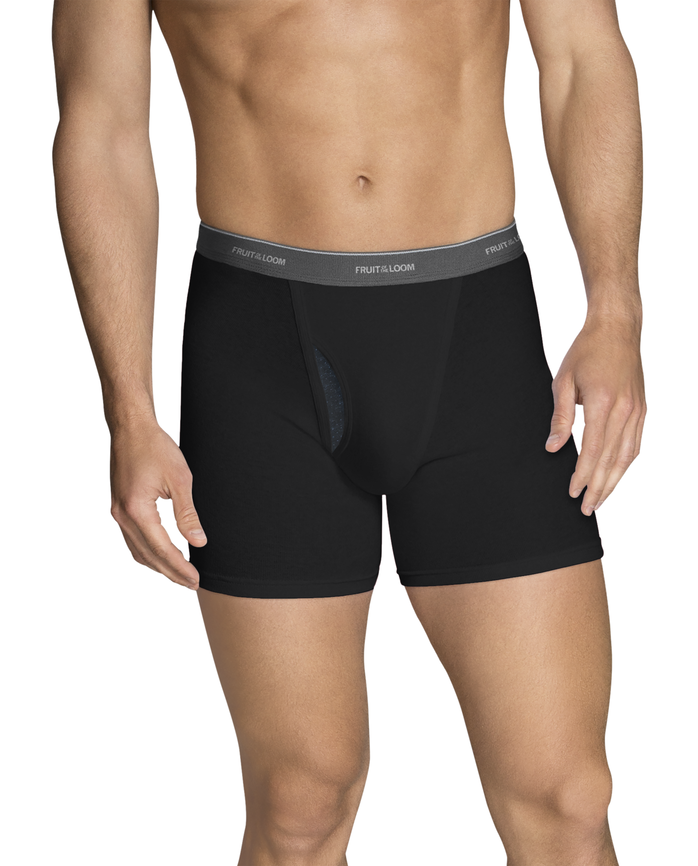 Men's CoolZone Fly Black and Gray Short Leg Boxer Briefs, 5 Pack ASSORTED