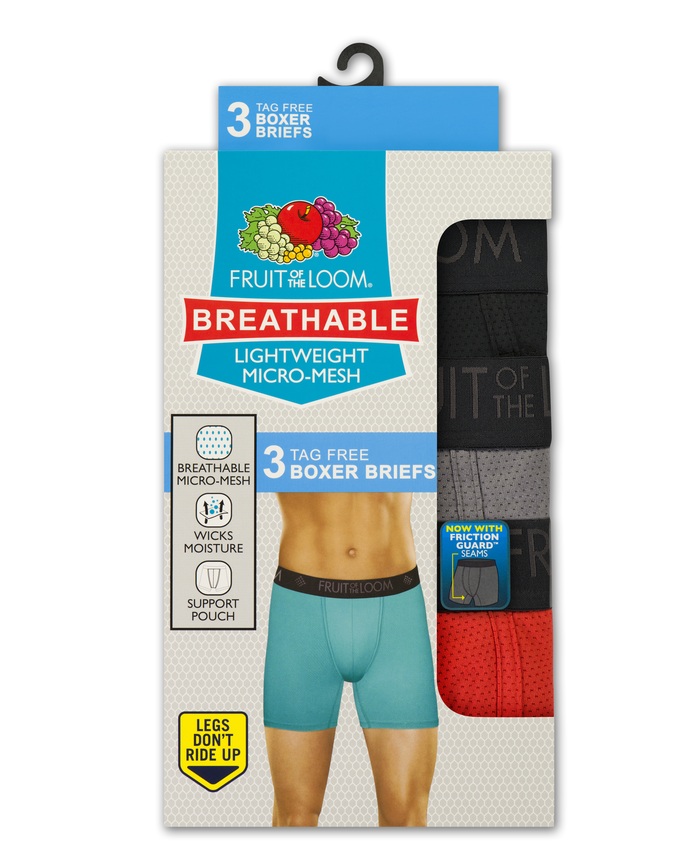 Men's Breathable Lightweight Micro-Mesh Boxer Brief , 3 Pack, Size 2XL Assorted
