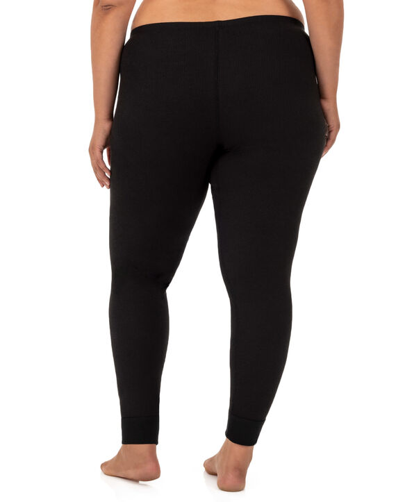 Women's Plus Size Thermal Bottom, 2 Pack Black