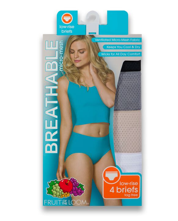 Women's Breathable Micro-Mesh Low Rise Brief Underwear, 4 Pack Assorted