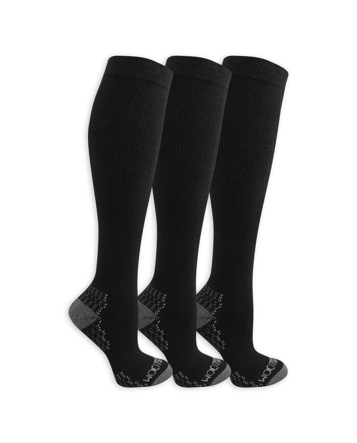 Women's On Her Feet Lightweight Compression Knee High Socks, 2 Pack, Size 4-10 BLACK