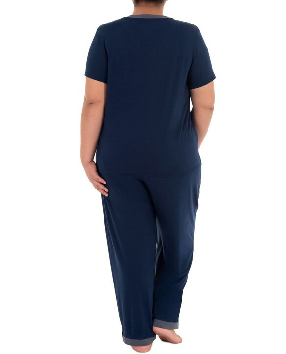 Women's Fit For Me By Fruit of The Loom Plus Size V-neck Pajama Set MIDNIGHT BLUE
