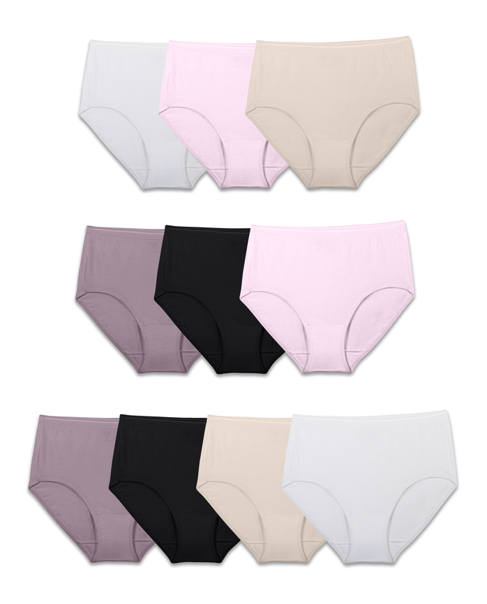 Women's Body Tone Cotton Brief Panty, 10 Pack