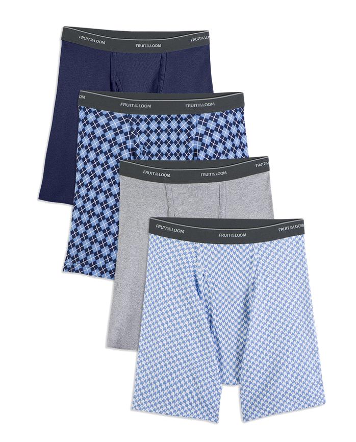 Big Men's Dual Defense Fashion Print/Solid Boxer Briefs, 4 Pack
