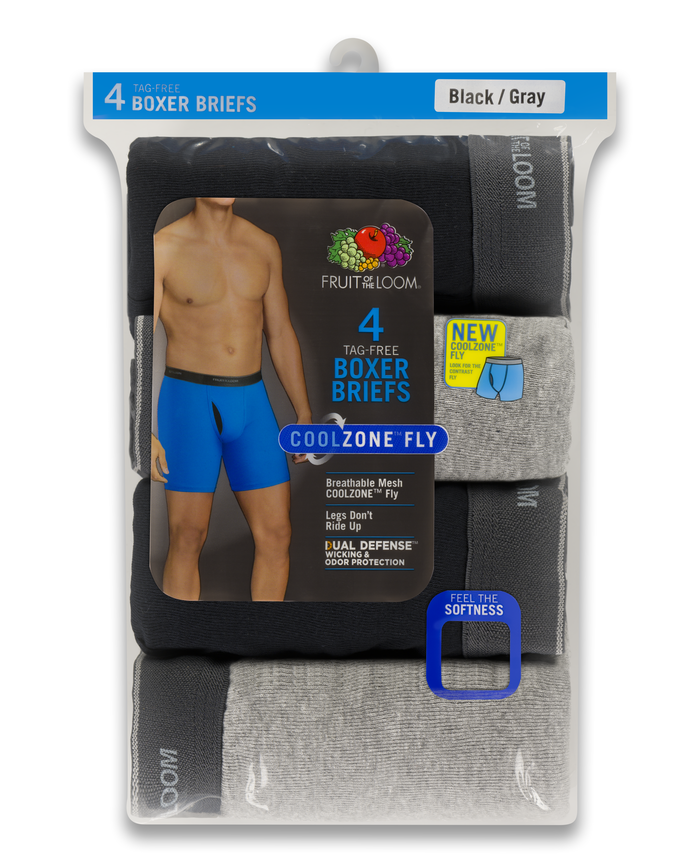 Men's COOLZONE Black/Gray Boxer Briefs, 4 Pack, Extended Sizes ASSORTED