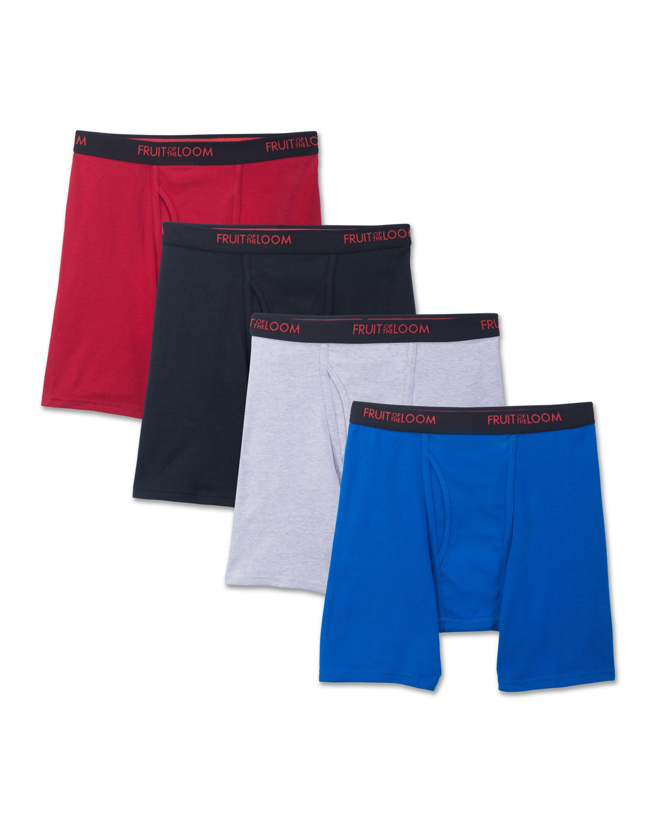 Fruit of the Loom Mens 4-Pack Boxer Briefs 100/% Cotton Underwear