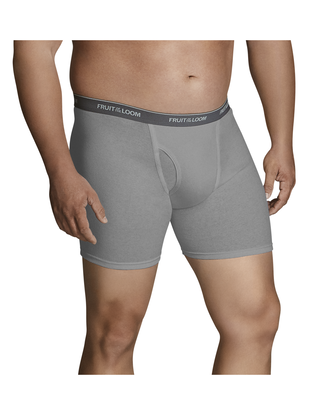 Big Men's Black and Gray Boxer Briefs, 2 Pack