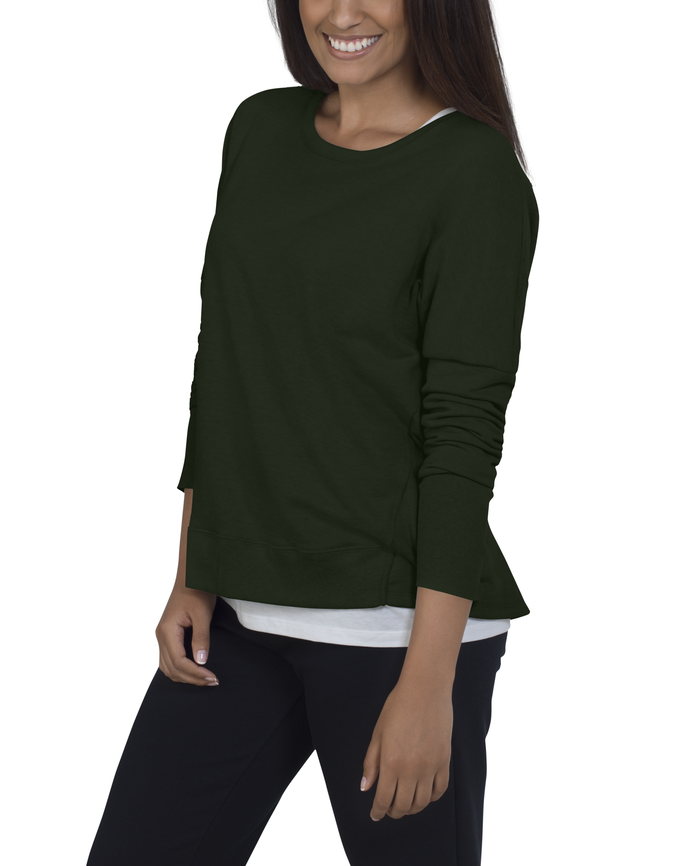 Women's Essentials Long Sleeve French Terry Top, 1 Pack Boxwood Green