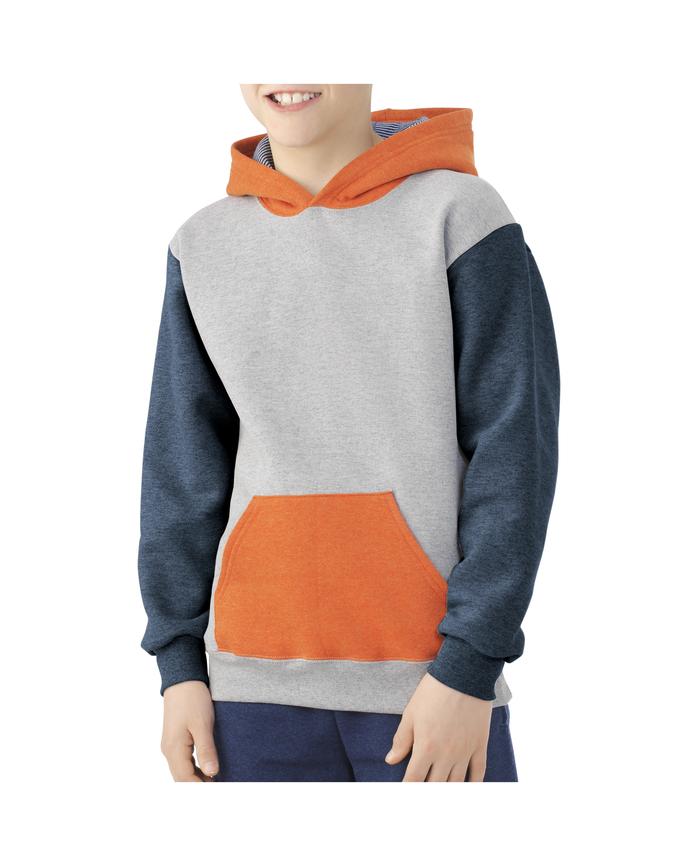 Boys' Fleece Hoodie Sweatshirt, 1 Pack ATHLETIC HEATHER / T.BLUE HEATHER / MASON ORANGE HEATHER / SMOKE BLUE STRIPE