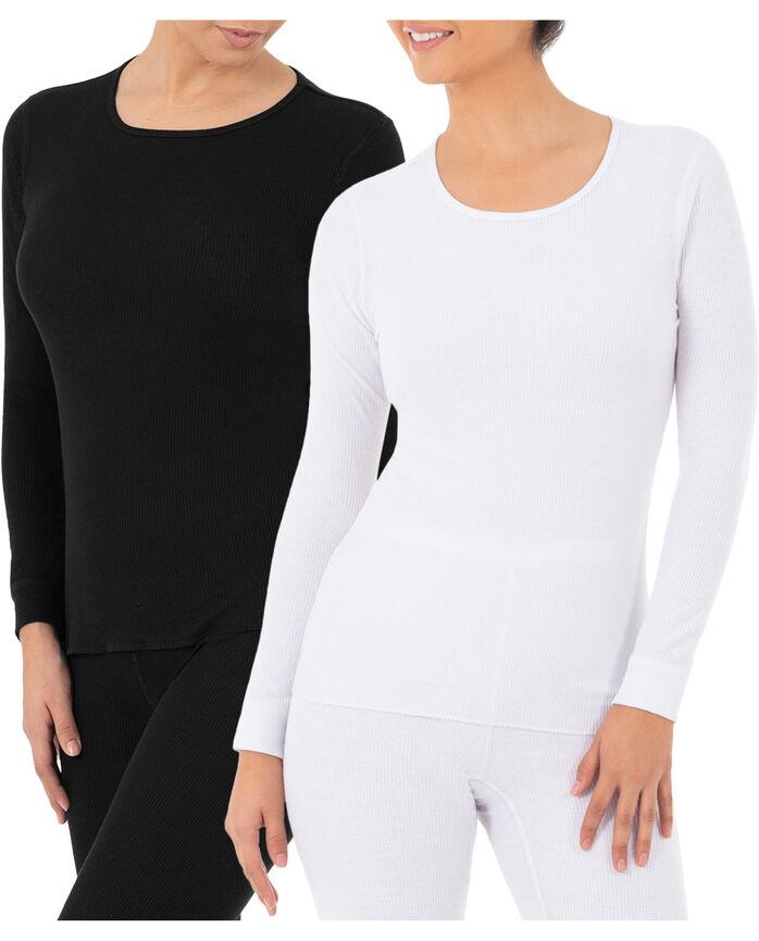 Women's Thermal Crew Top, 2 Pack Black/White
