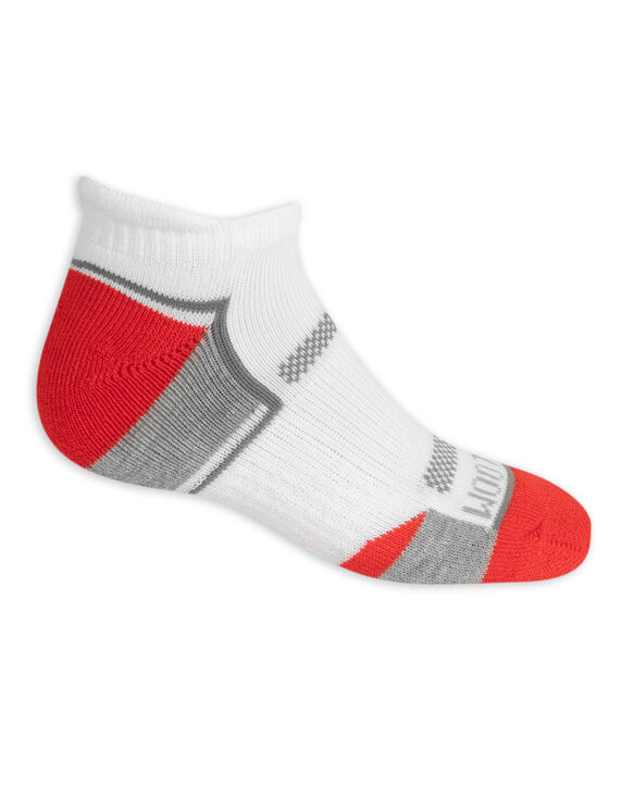 Boys' Active Cushioned Low Cut Socks, 6 Pack WHITE/DAZZLING BLUE, WHITE/GREY,WHITE/HIGH RISK RED, WHITE/LIME, WHITE/GREY,WHITE/AUTUMN GLORY