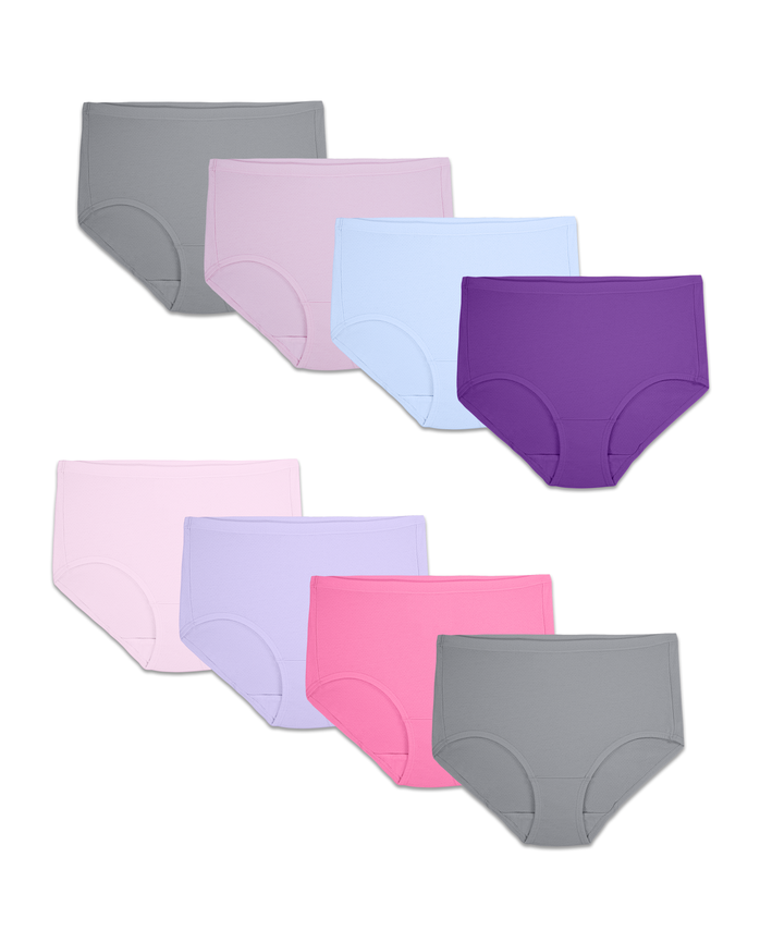 Women's Assorted Breathable Cotton-Mesh Brief Panty, 8 Pack ASSORTED