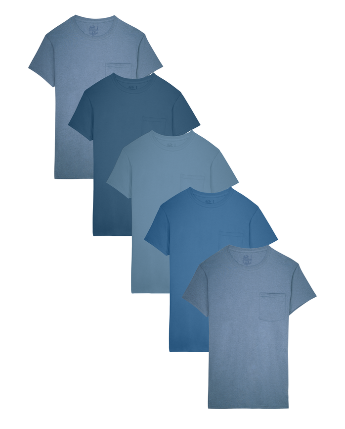 Fruit of the Loom Men's Dual Defense Assorted Blues Pocket T-Shirts, 5 Pack