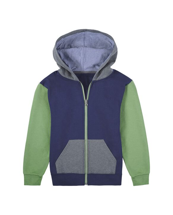 Boys' Fleece Full Zip Hoodie, 1 Pack Green/Navy
