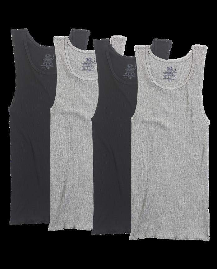 Men's 4 Pack Black/Gray A-Shirts