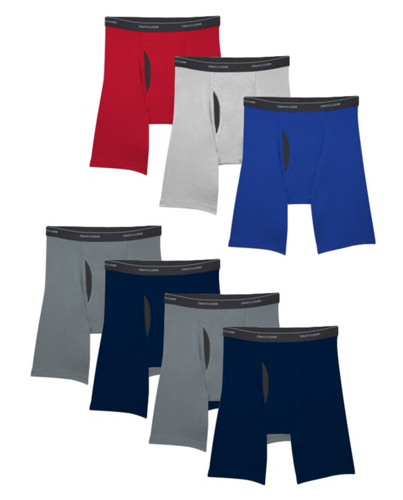 Men's CoolZone® Fly Assorted Long Leg Boxer Briefs, 7 Pack ASSORTED