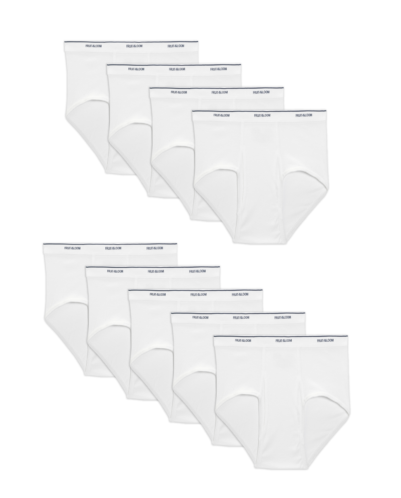 e50d51662e06c8 Men's Dual Defense Classic White Briefs, 9 Pack - Fruit US