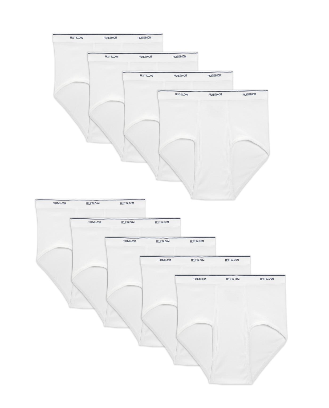 256f2157cb3e36 Men's Dual Defense Classic White Briefs, 9 Pack - Fruit US