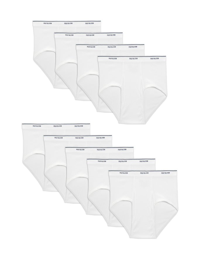 Men's Dual Defense Classic White Briefs, 9 Pack