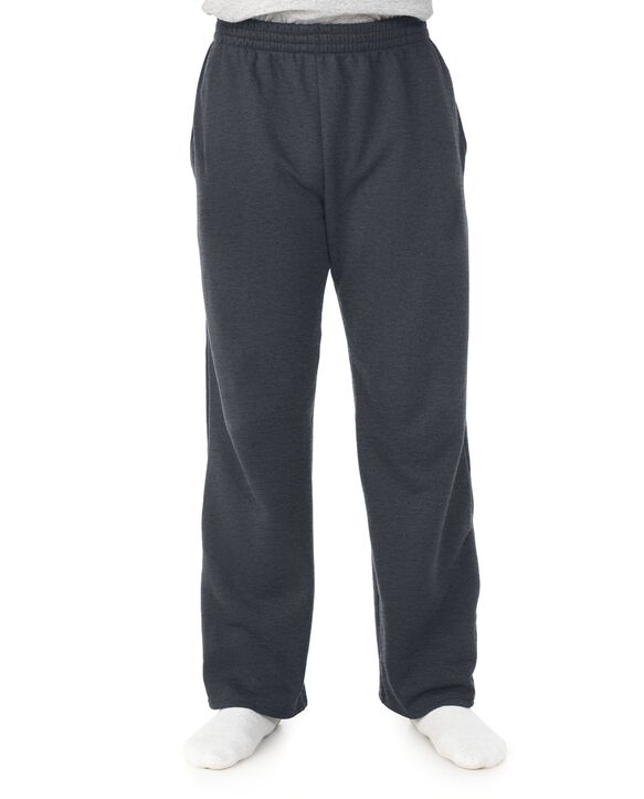 Men's Super Soft Fleece Open Bottom Sweatpants, 1 Pack Charcoal Heather