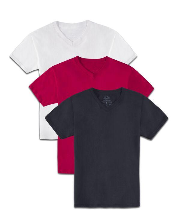 Boys' Super Soft Solid Multi-Color Short Sleeve V-Neck T-Shirts, 3 Pack Macintosh Asst.