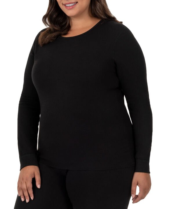 Women's Fit for Me by Plus Waffle Crew Top, 1 Pack BLACK