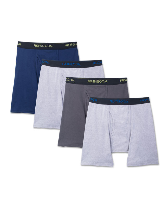 Fruit of the Loom Premium Dri-Stretch Men's Boxer Briefs, 4 Pack - Black/Gray