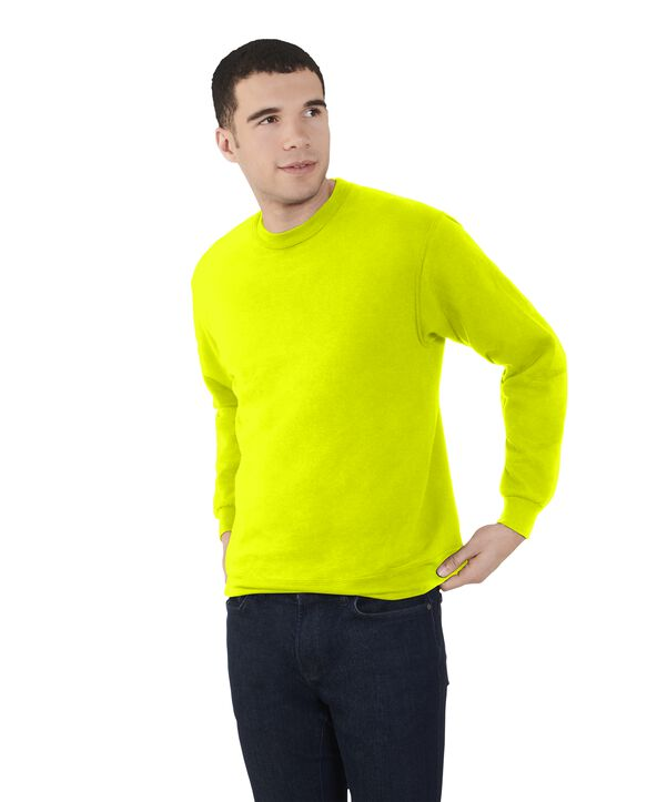 Men's EverSoft Fleece Crew Sweatshirt, 1 Pack Safety Green