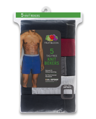Fruit of the Loom Men's Assorted Knit Boxers, 5 Pack Assorted