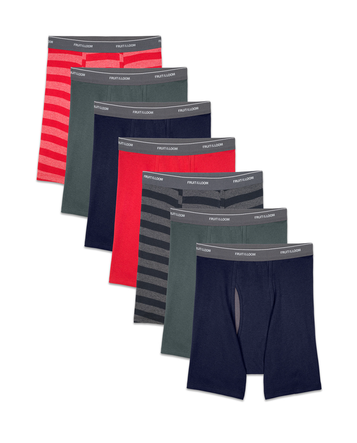 Men's COOLZONE Stripe/Solid Boxer Briefs, 7 Pack