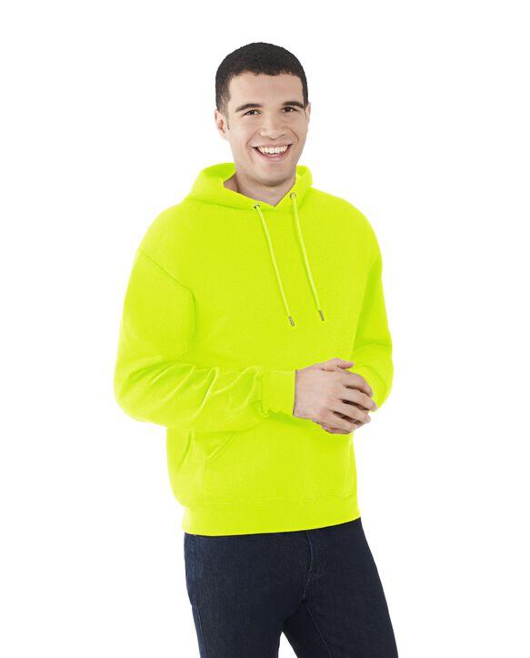 Men's EverSoft Fleece Pullover Hoodie Sweatshirt, 1 Pack Safety Green