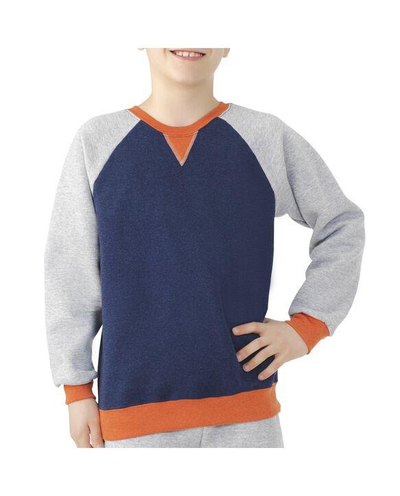 Boys' Fleece Raglan Crewneck Sweatshirt, 1 Pack Blue Heather