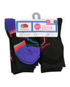 Girls' Active Cushioned Crew Socks, 6 Pack CAVIAR/SIMPLY PPL, CAVIAR/PINK GLO, CAVIAR/BLUEBIRD