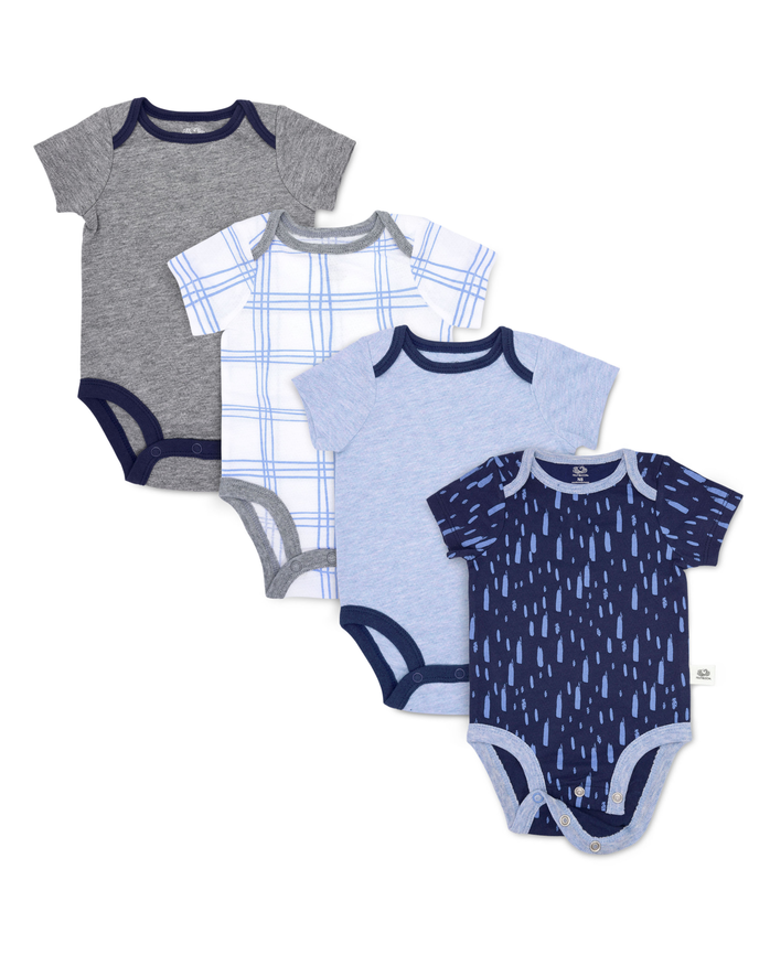 Baby Boys' Short Sleeve Breathable Bodysuits, 4 Pack Blue Multi