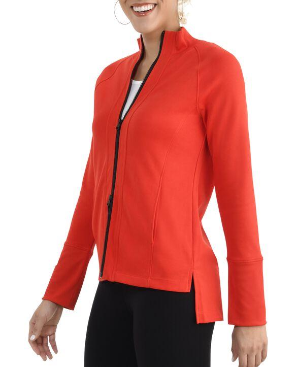 Women's Seek No Further Long Sleeve Full Zip Raglan Track Jacket Bright Red