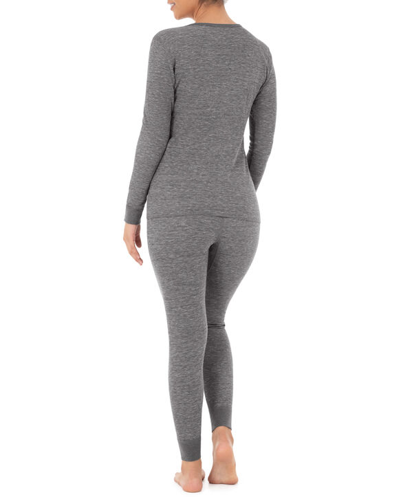 Women's Thermal Crew Top & Bottom Set Smoke Heather