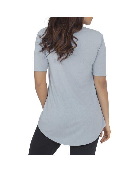 Women's Essentials Elbow Length V-Neck T-Shirt, 1 Pack Bayou Blue Heather