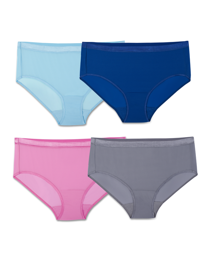 Fit for Me by Fruit of the Loom EverLight Hipsters, 4 Pack Plus Size Panties
